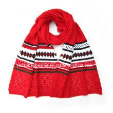 100% акриловый зимний вязаный шарф, футбольный шарф