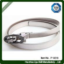 Skinny PU Woman Belt with Brass Pin Buckle