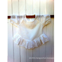 Children′s Top 3/4 Sleeves Gorgeous Broderie Anglaise Lace Gathered Ruffle Children Clothing