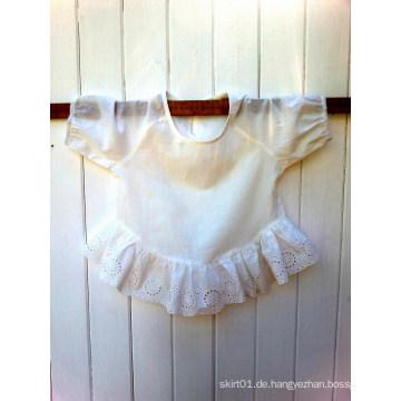 Kinder Top 3/4 Ärmel Wunderschöne Broderie Anglaise Spitze gesammelt Rüsche Kinder Kleidung