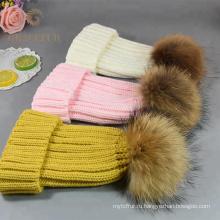 Теплая зимняя женская натуральный мех женщин шляпа