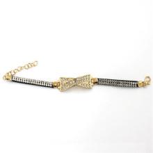 Encanto del color del oro de 7.5cm con la pulsera de cuero con los Rhinestones