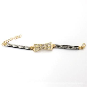 7.5cm encanto cor de ouro com pulseira de couro com strass