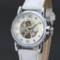 casual style mechanical watch with diamond master dial white leather band