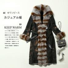 Подлинный 2016 новый дизайн Леди кожа и мех пальто длинные Стиль мех лисы