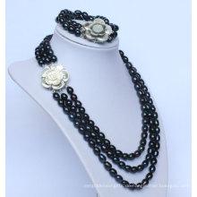 3 Stränge Süßwasser schwarz Perle Schmuck Halskette Sets (ES1332)
