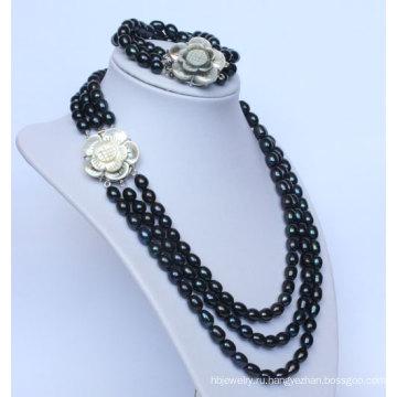3 стринги пресной воды Черная жемчужина ожерелья ювелирные наборы (ES1332)