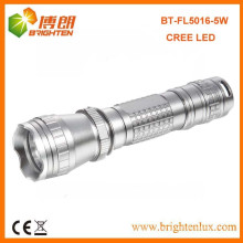 Factory Supply Aluminum Metal Materail Long Range High Bright Tactical Cree Q5 led Torch Flashlight with 3*AAA