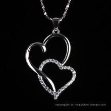 Romatic Love Fashion corazón a corazón forma joyería collar