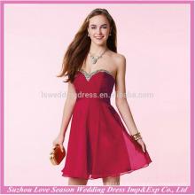 HE10025 custom low back vestido de formatura sexy cristal beaded sweatheart sem mangas romântico cetim curto mini vestidos de festa de formatura