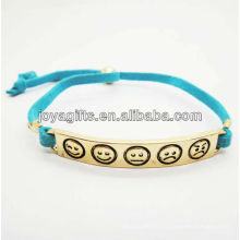 Symbole phiz en alliage en alliage de couleur en or plaqué or avec bracelet en cuir bleu