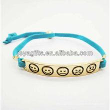 Cordão de couro azul com bracelete em liga de ouro