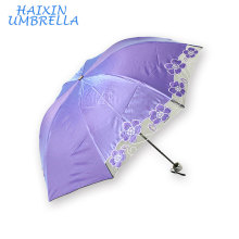 Cor sólida Agradável Olhando 3 Dobras UV Mini Sun Flower Bordado Guarda-chuva Chinês Para Chuva e Sol