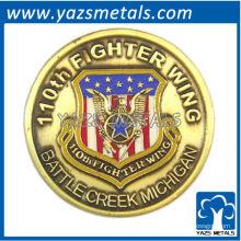 kundenspezifische Gedenkmünze, maßgeschneiderte Gedenkkämpfer-Flügelmünze mit Vergoldung