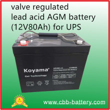 Valve Regulated Lead Acid AGM Battery (12V80Ah) for UPS, Telecom, Electrical Utilities