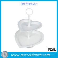 Heart-Shaped 2 Tier White Wedding Cake Stand