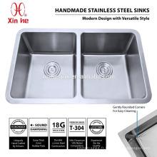 Évier de cuisine d'acier inoxydable de R25, petit rayon pressé profond de 304 casseroles d'acier inoxydable Undermount de cuisine en acier inoxydable à vendre