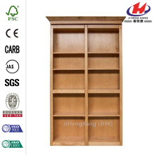 Unfinished Red Oak 6-Shelf Bookcase Bi-fold Door