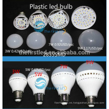Bulbo de plástico de 3W llevó la lámpara E27 E14