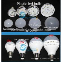 Bulbo de plástico 3W levou lâmpada E27 E14