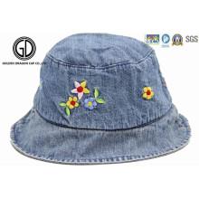 Niños Bebé Niños Denim Tejido Sombrero Cubo con bordado de flores