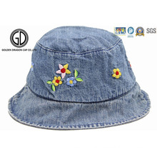 Kids Baby Children Denim Fabric Bucket Hat with Flower Embroidery