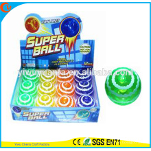 Novelty Design Christmas'gift LED Rubber 75mm Flashing Wave Printed Air Bouncy Ball