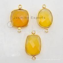 Réglage de la lunette Vermeil de qualité fine Connecteurs en pierre gemme naturelle de calcédoine jaune