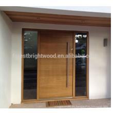Diseño de puerta frontal de madera sólida exterior estilo moderno contemporáneo