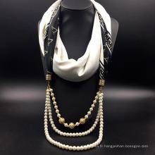 Chine nouvelle conception écharpe collier bijoux écharpe décorative infini avec des perles
