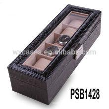 boîte de montre en cuir de haute qualité pour 5 montres en gros fabricant, Chine