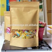 La bolsa de papel más popular con la guarnición plástica