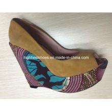 Chaussures compensées en tissu imprimé africain (Hs01-005)