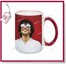 15oz White Ceramic Mugs with Color of Rim and Handle by Mejorsub