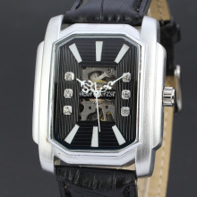 winner rectangle business style watch with visible mechanism