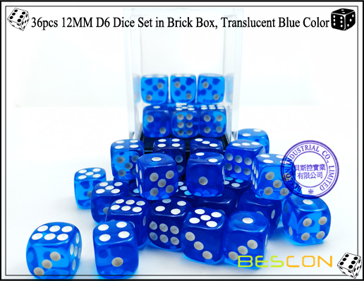 36pcs 12MM D6 Dice Set in Brick Box, Translucent Blue Color-4
