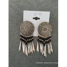 Bohemia Retro Round Black Seedbead Earring with Metal Tassel
