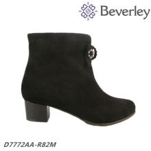 factory competitive price wing-tipped ladies boot Mid heeel black cowhide top quality women boot