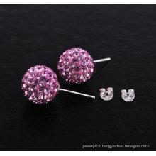 Shamballa Earrings With 925 Sterling Silver Hoop Earrings BWE23