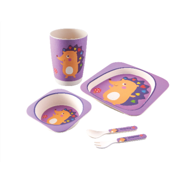 Bamboo Fiber Animal Printed Children 5 PCS Dinnerware