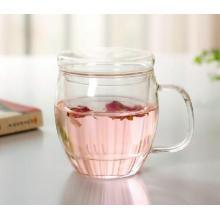 Coupe de thé en verre transparent résistant à la chaleur avec infusion et couvercle