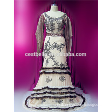 New Arrival Muslim Wedding Dress Long Sleeves grey Abaya Islamic Dress