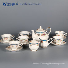 Sistema occidental del envase del azúcar del café del té del diseño del estilo llano 15pcs, taza árabe fina de la taza de café de China del hueso