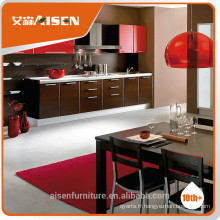 Cabinet de cuisine fini en PVC marron et rouge