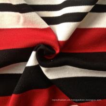 Poly / rayón / spandex hilo teñido de rayas costura de tela de punto (QF13-0686)