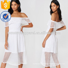 Off Shoulder Short Sleeve White Lace Layered Midi Summer Dress Manufacture Wholesale Fashion Women Apparel (TA0240D)
