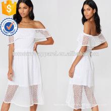 С плеча с коротким рукавом белого кружева слоистых Миди летнее платье Производство Оптовая продажа женской одежды (TA0240D)