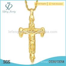 Colgantes grandes de la cruz del oro del mens del acero inoxidable al por mayor