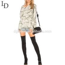 Камуфляж мода негабаритных с капюшоном свитшот однотонный пуловер толстовки для женщин