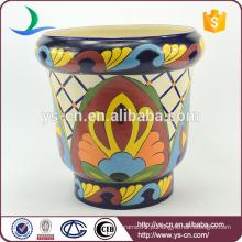 YSfp0001-01 Morden vintage mão impressão pote de cerâmica